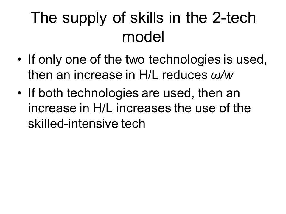 The supply of skills in the 2-tech model