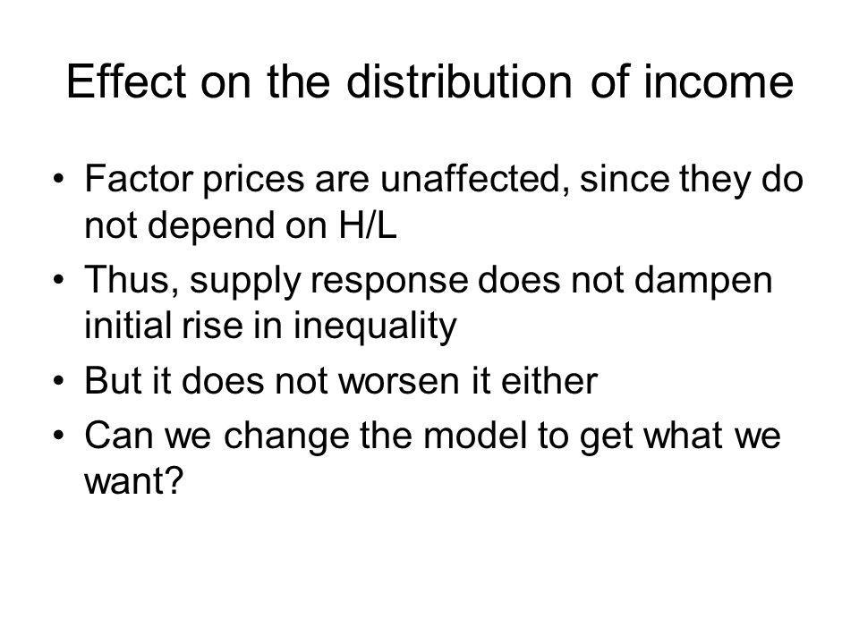 Effect on the distribution of income