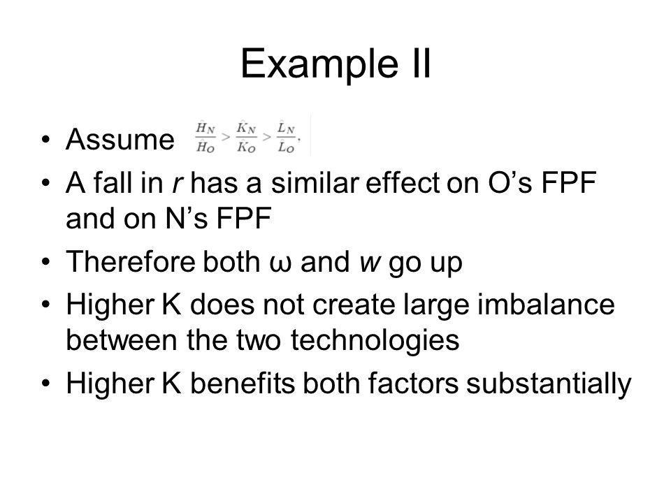 Example II Assume. A fall in r has a similar effect on O's FPF and on N's FPF. Therefore both ω and w go up.