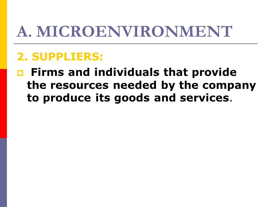 A. MICROENVIRONMENT 2. SUPPLIERS: