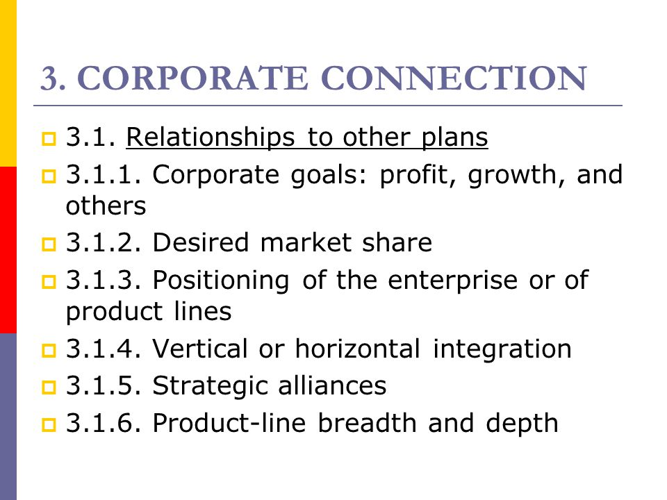 3. CORPORATE CONNECTION 3.1. Relationships to other plans
