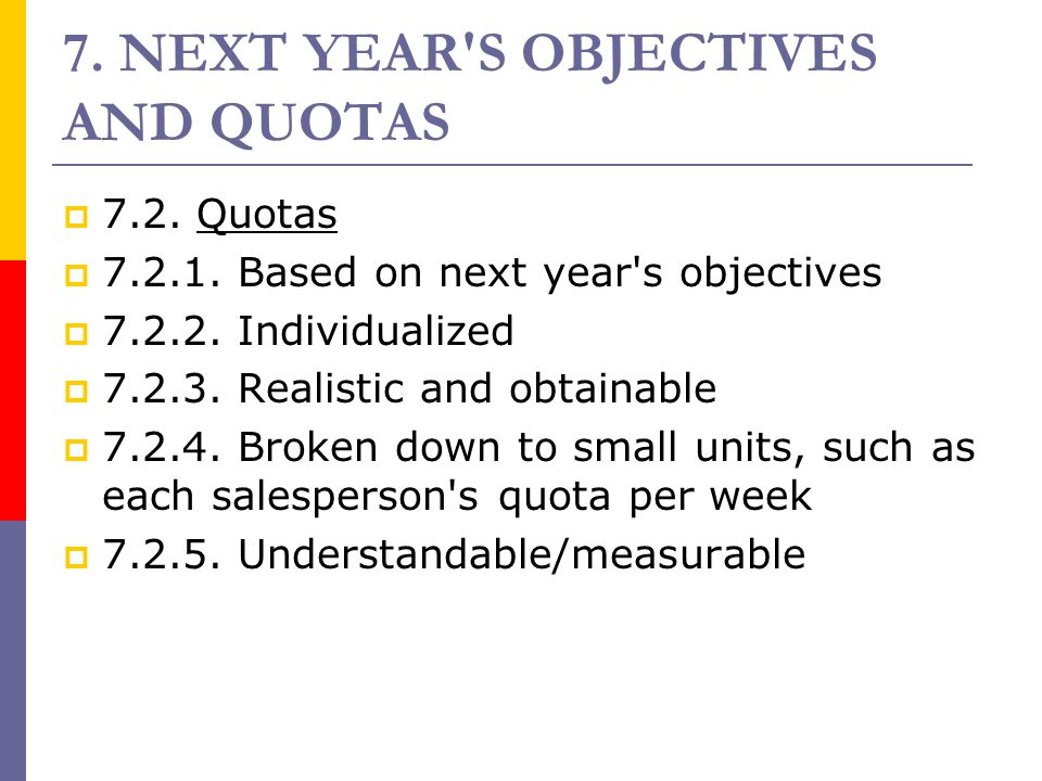 7. NEXT YEAR S OBJECTIVES AND QUOTAS