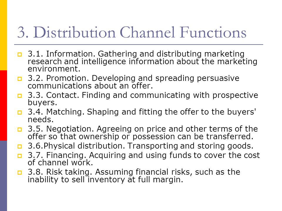 3. Distribution Channel Functions