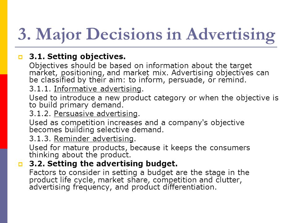 3. Major Decisions in Advertising