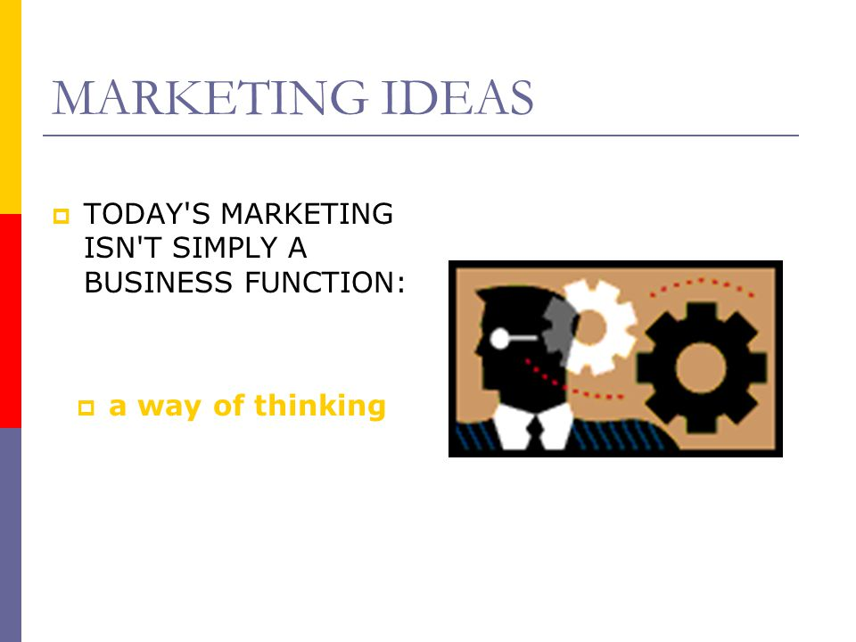 MARKETING IDEAS TODAY S MARKETING ISN T SIMPLY A BUSINESS FUNCTION: