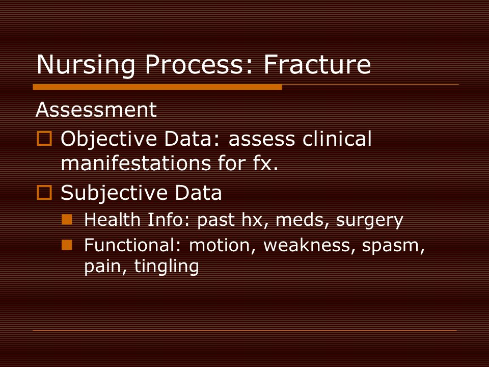 Nursing Process: Fracture