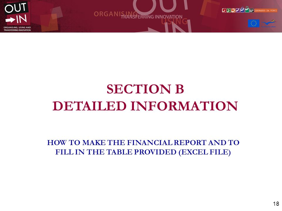 SECTION B DETAILED INFORMATION