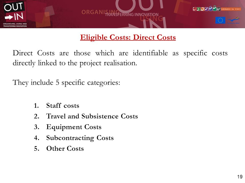 Eligible Costs: Direct Costs