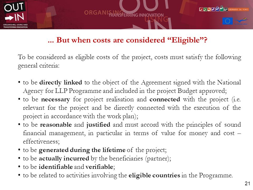 ... But when costs are considered Eligible