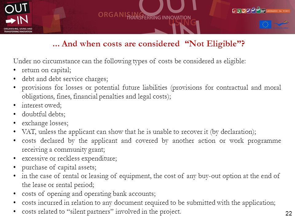 ... And when costs are considered Not Eligible