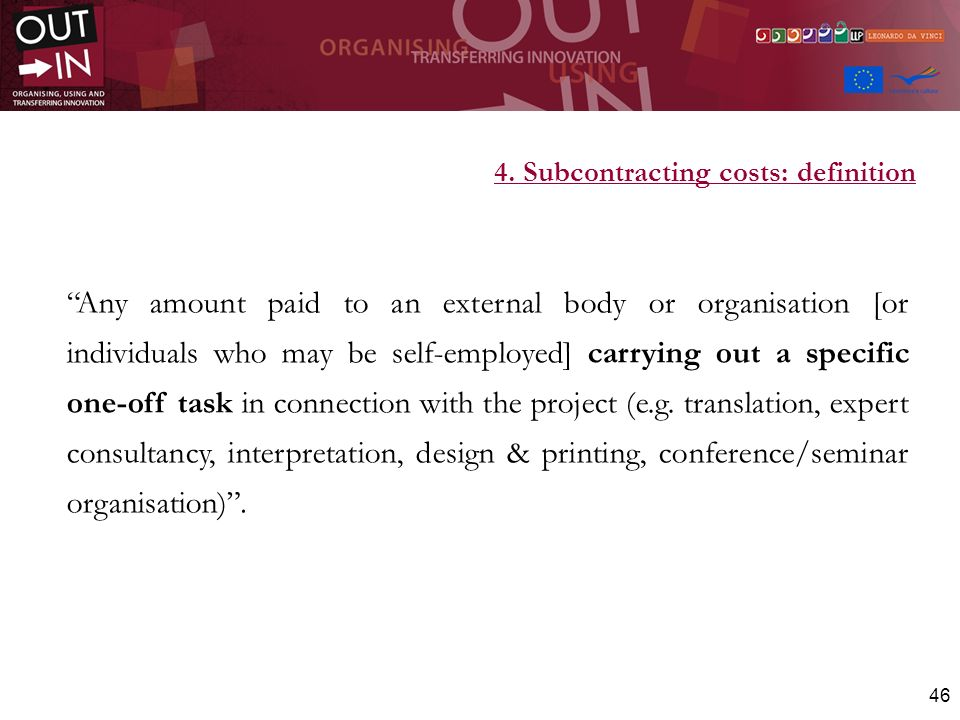 4. Subcontracting costs: definition