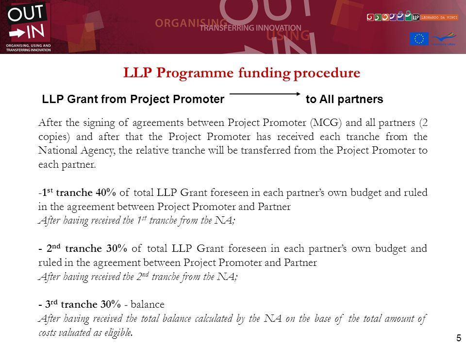 LLP Programme funding procedure