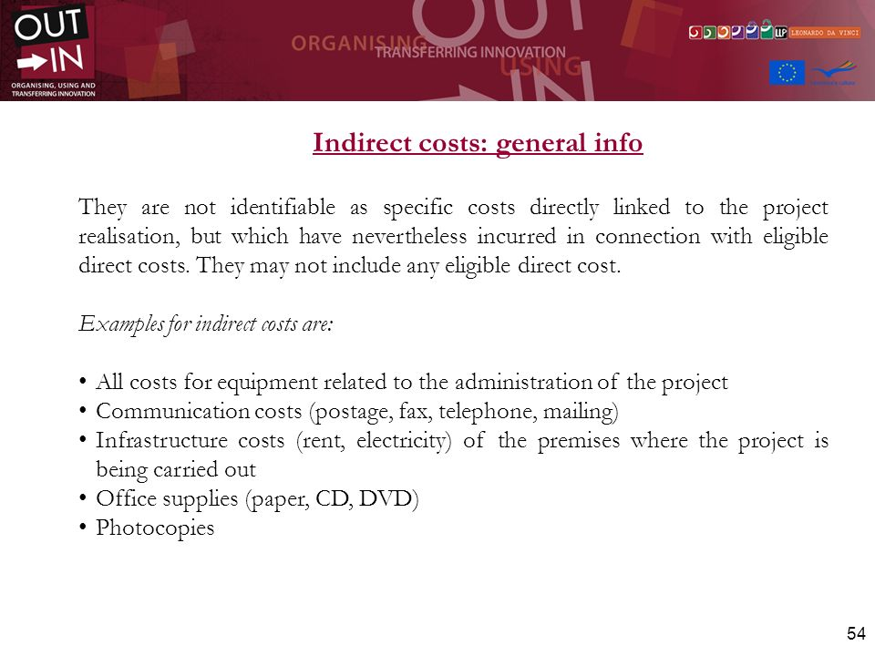 Indirect costs: general info