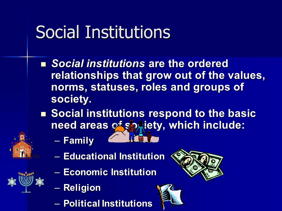 Social Institutions Social institutions are the ordered relationships that grow out of the values, norms, statuses, roles and groups of society.