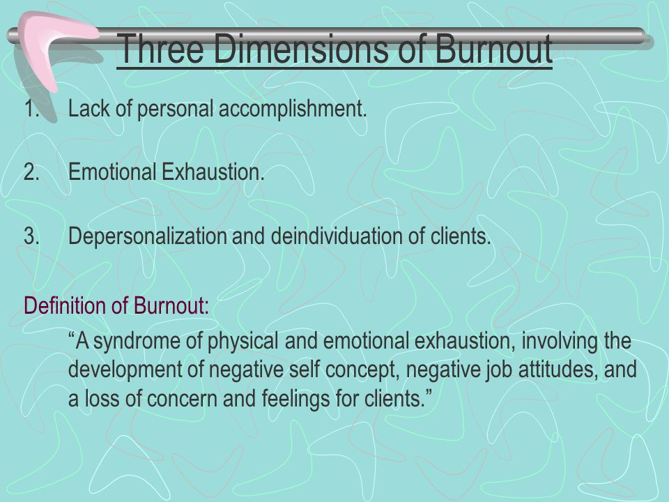 Three Dimensions of Burnout