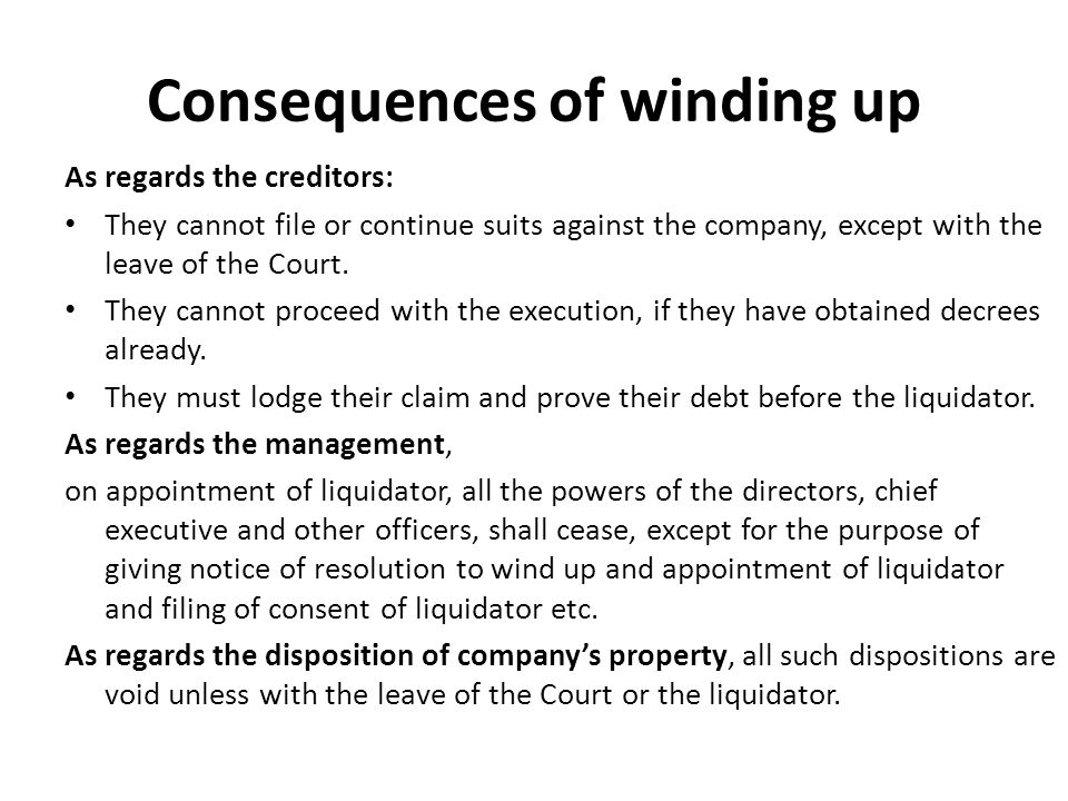 consequences of winding up