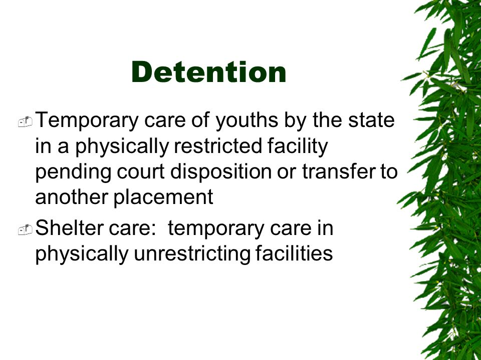 Detention Temporary care of youths by the state in a physically restricted facility pending court disposition or transfer to another placement.
