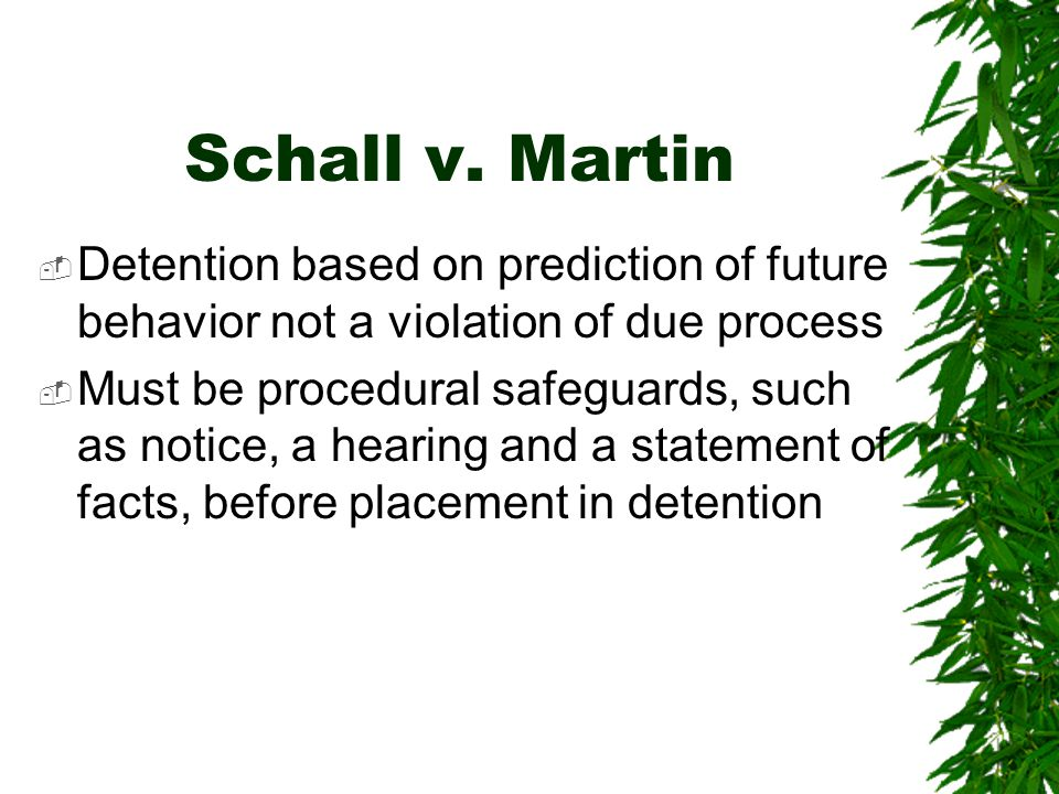 Schall v. Martin Detention based on prediction of future behavior not a violation of due process.