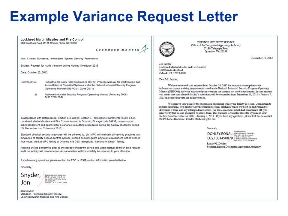 Variance Request Letter Sample