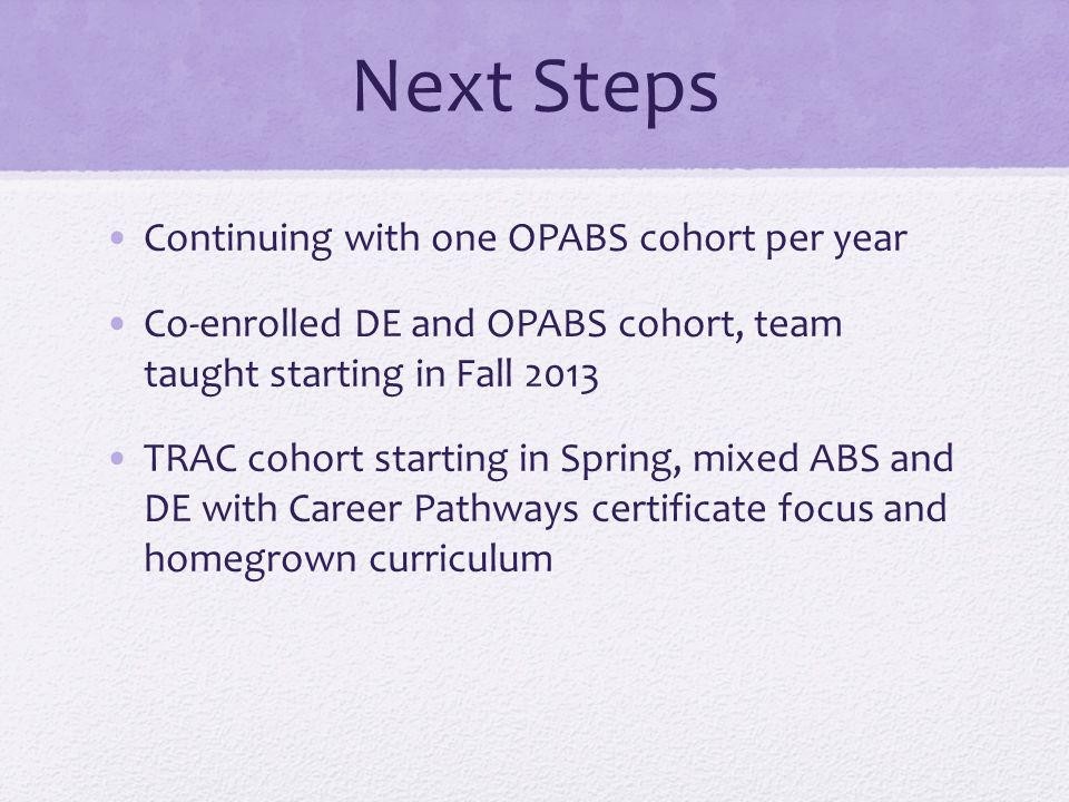 Next Steps Continuing with one OPABS cohort per year