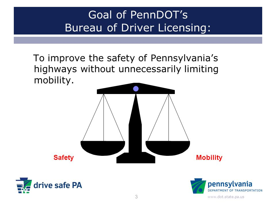 Goal of PennDOT's Bureau of Driver Licensing: