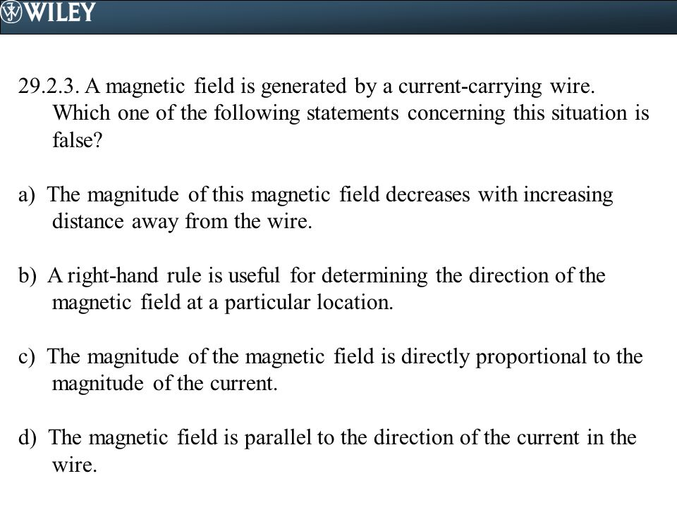 A magnetic field is generated by a current-carrying wire