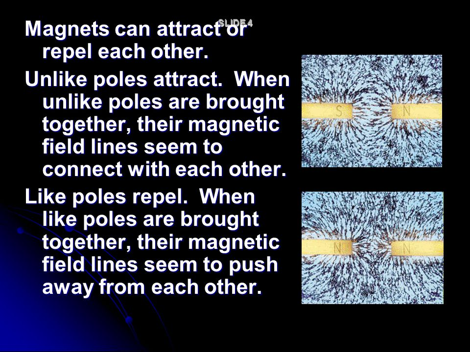 Magnets can attract or repel each other.