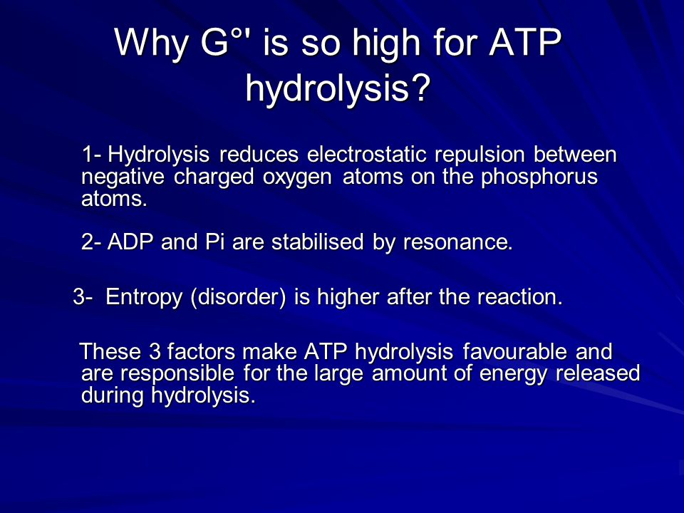 Why G° is so high for ATP hydrolysis