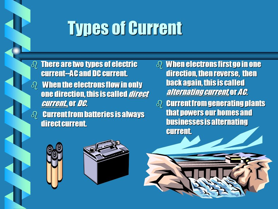 Types of Current There are two types of electric current--AC and DC current.