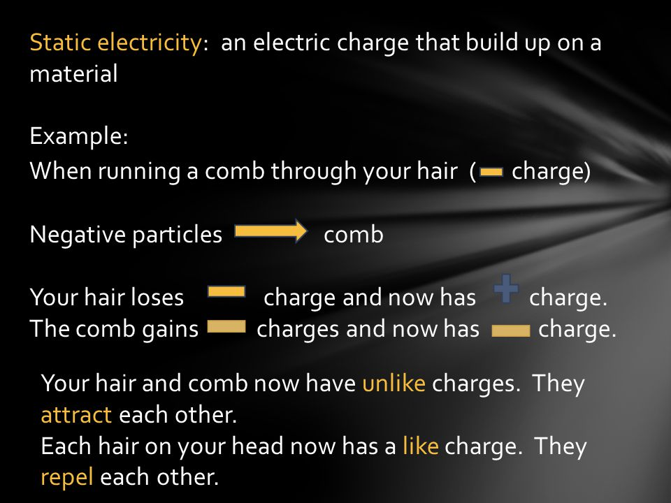 Static electricity: an electric charge that build up on a material
