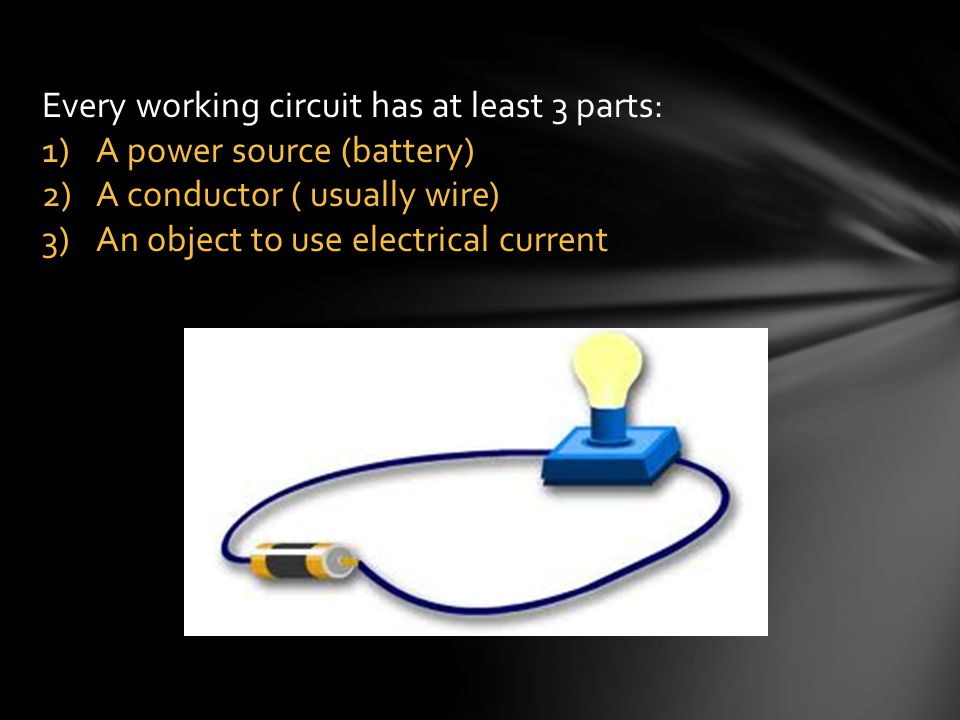 Every working circuit has at least 3 parts: