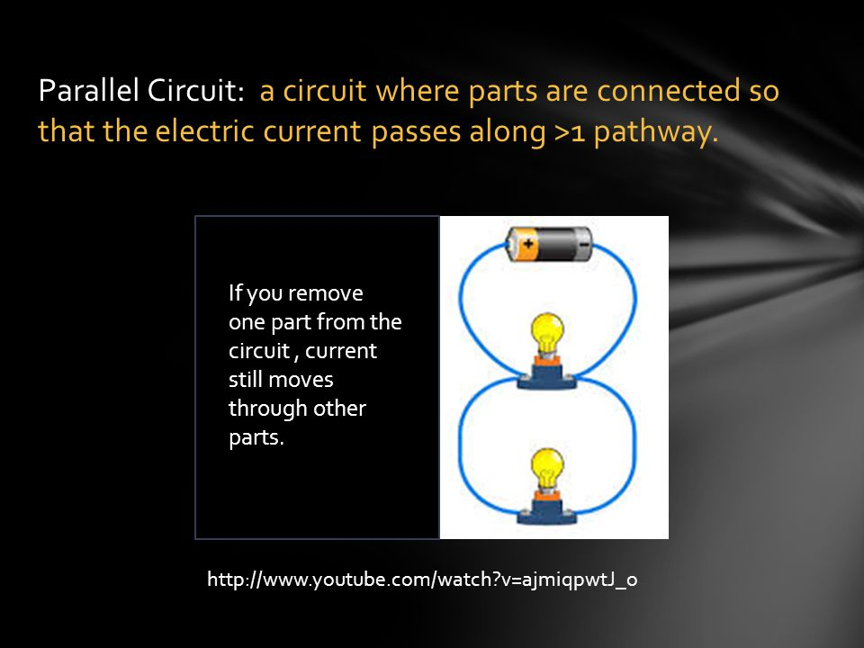 Parallel Circuit: a circuit where parts are connected so that the electric current passes along >1 pathway.