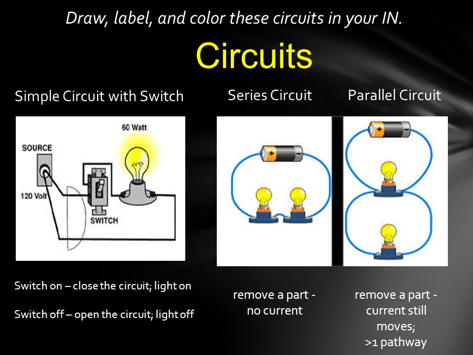 Circuits Draw, label, and color these circuits in your IN.