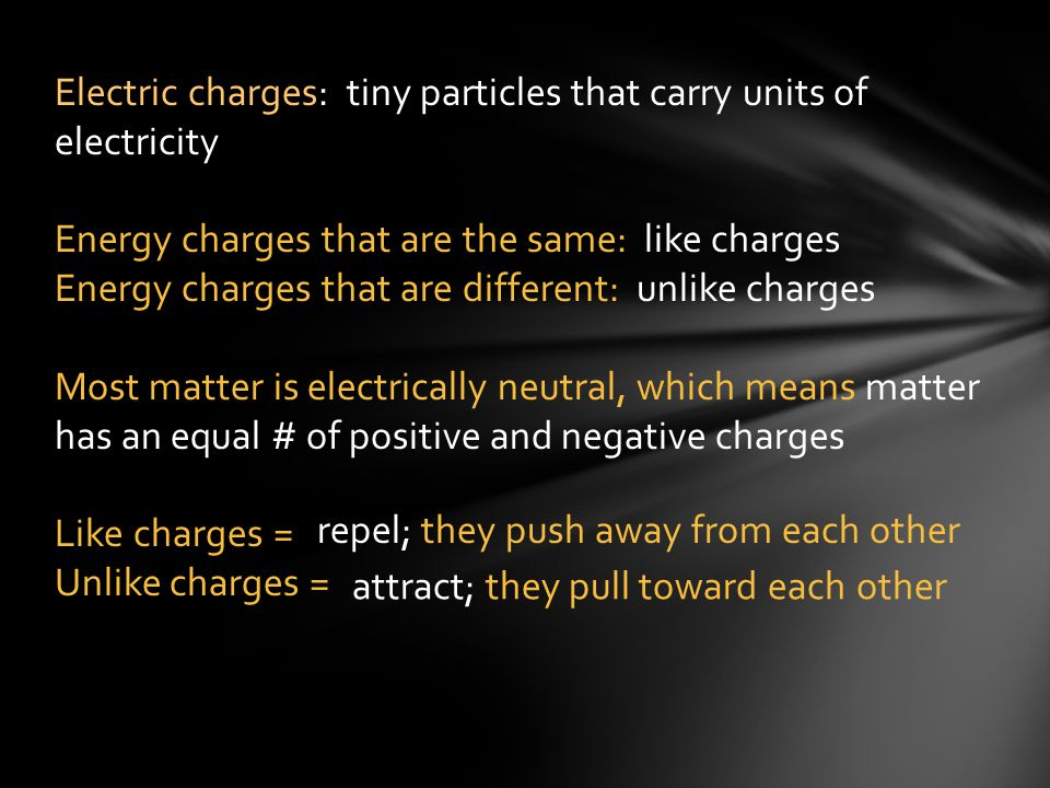 Electric charges: tiny particles that carry units of electricity