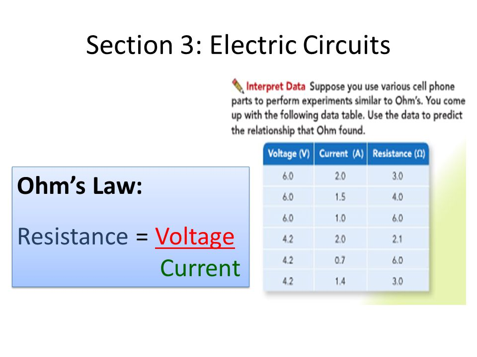Section 3: Electric Circuits