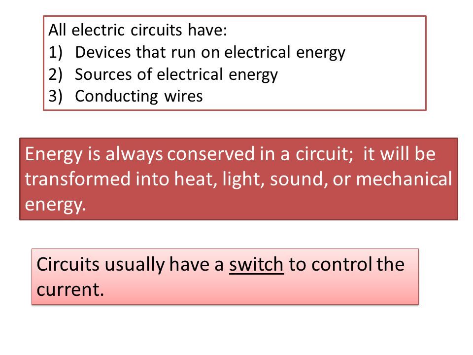 Energy is always conserved in a circuit; it will be