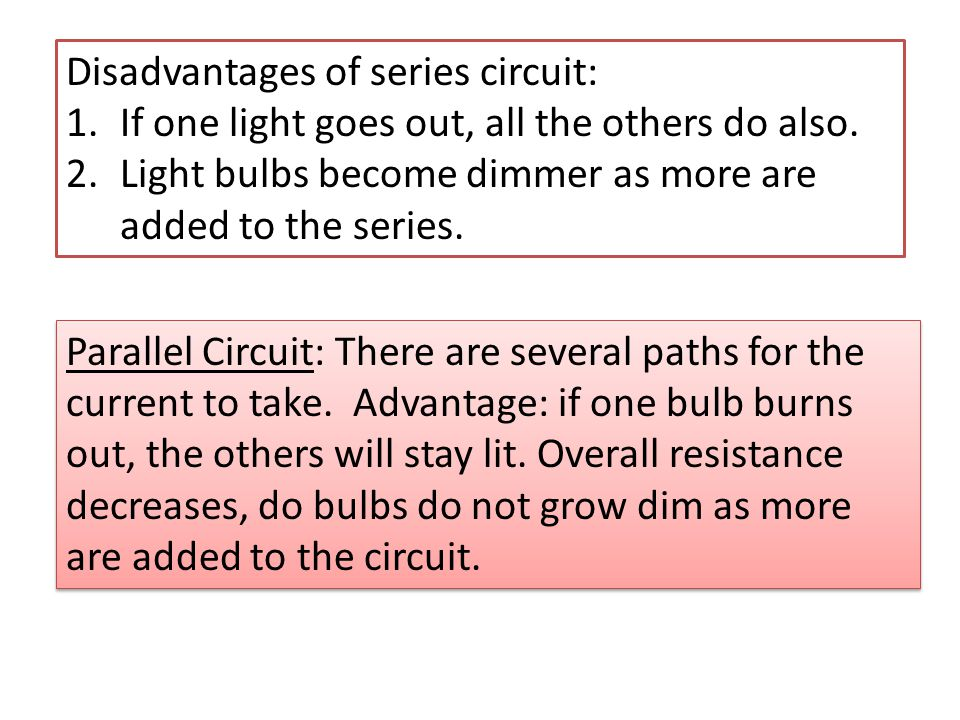 Disadvantages of series circuit: