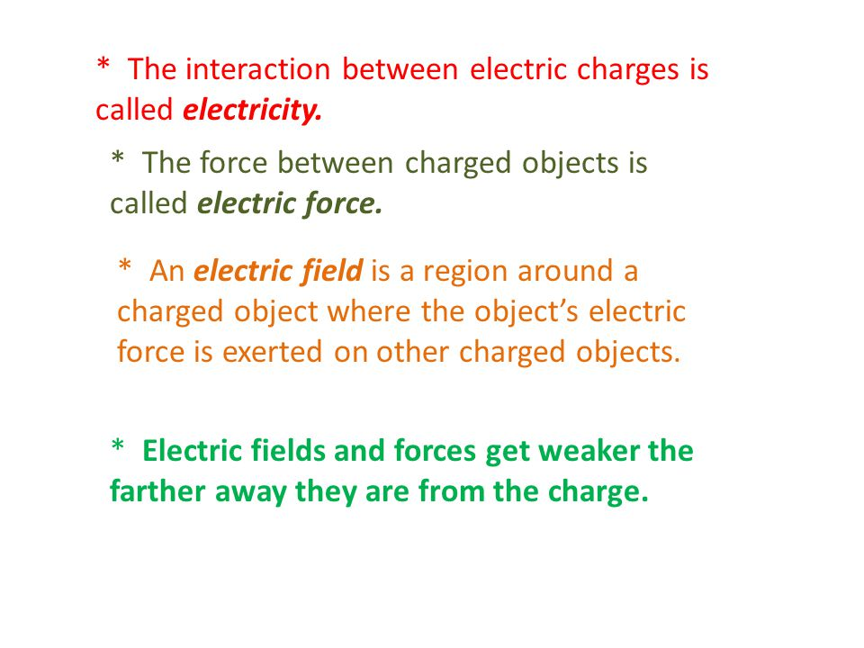* The interaction between electric charges is called electricity.