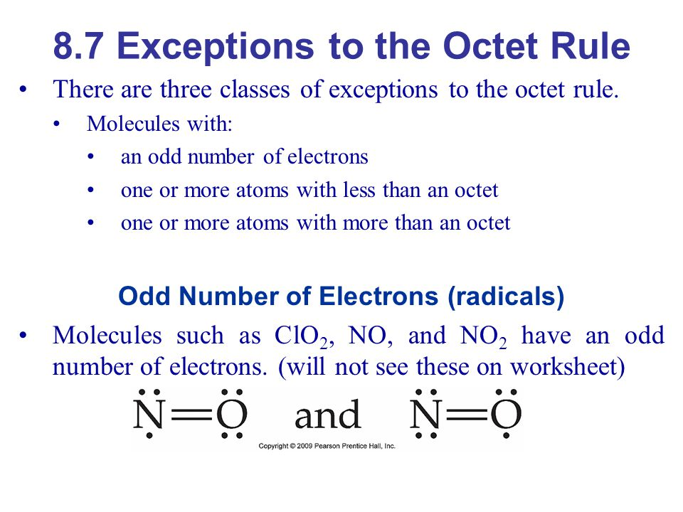 8.7 Exceptions to the Octet Rule