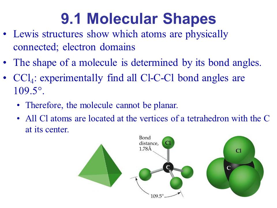 9.1 Molecular Shapes Lewis structures show which atoms are physically connected; electron domains.