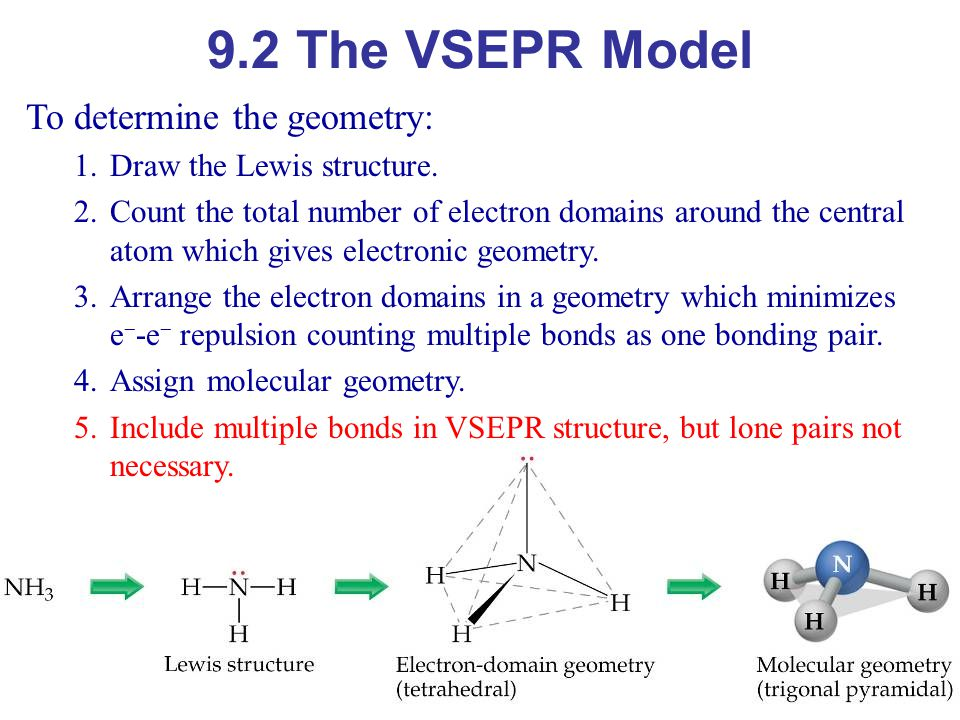 9.2 The VSEPR Model To determine the geometry: