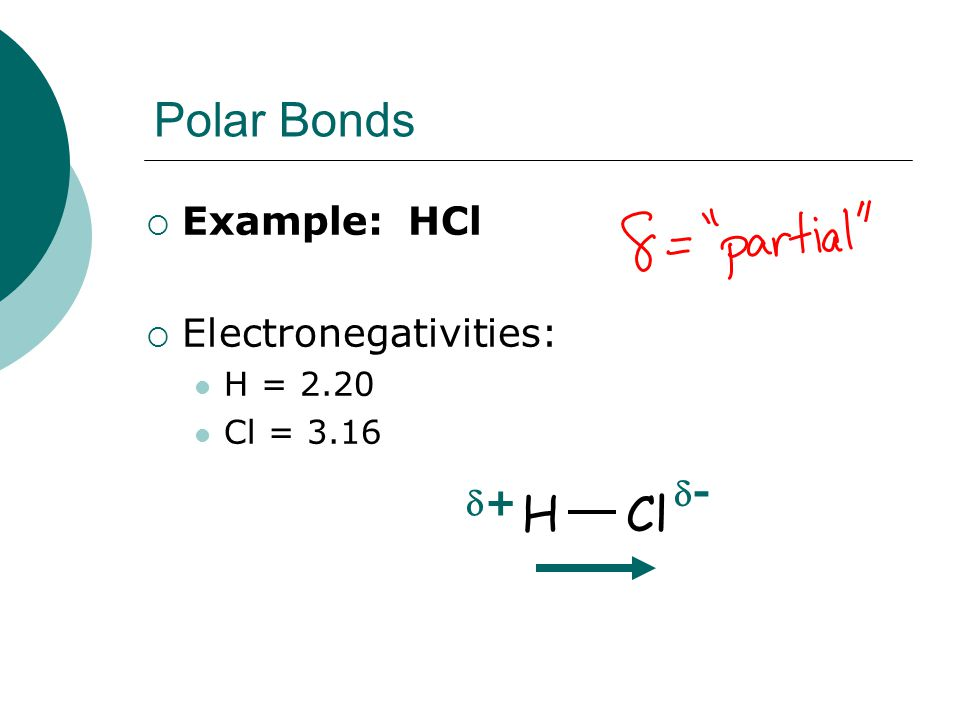 Polar Bonds H Cl Example: HCl Electronegativities: - + H = 2.20