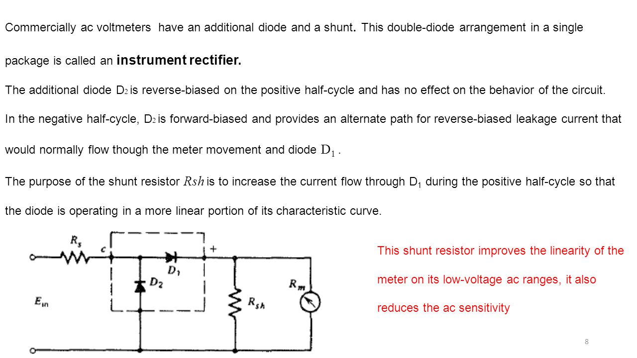Alternating Current Meters Ppt Video Online Download Rectifier With Capacitor Filter Public Circuit Commercially Ac Voltmeters Have An Additional Diode And A Shunt