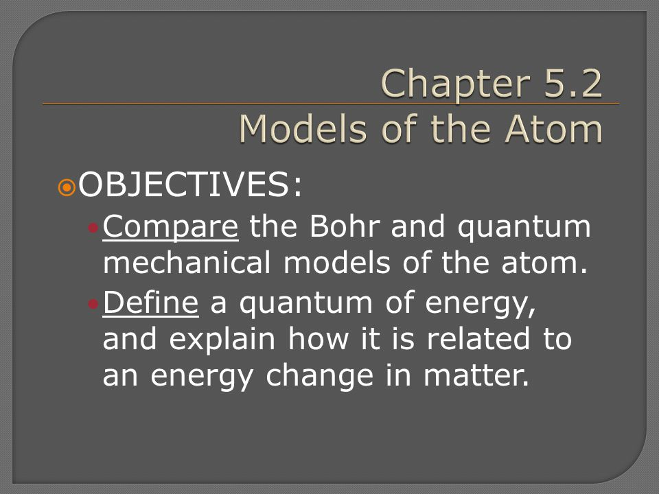 Chapter 5.2 Models of the Atom