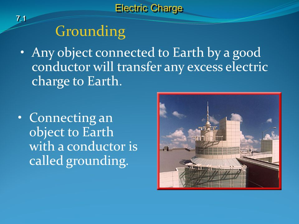 Electric Charge 7.1. Grounding. Any object connected to Earth by a good conductor will transfer any excess electric charge to Earth.