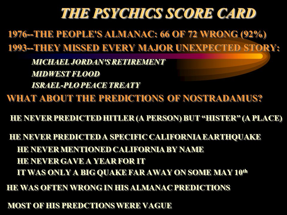 THE PSYCHICS SCORE CARD
