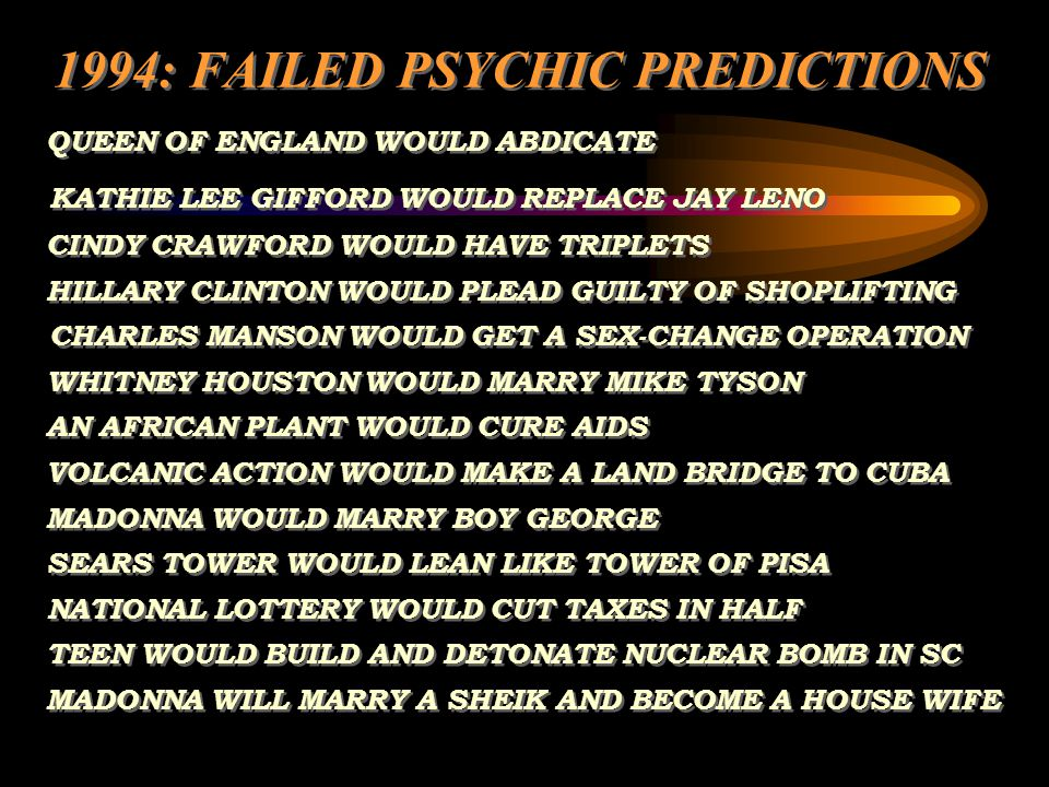 1994: FAILED PSYCHIC PREDICTIONS