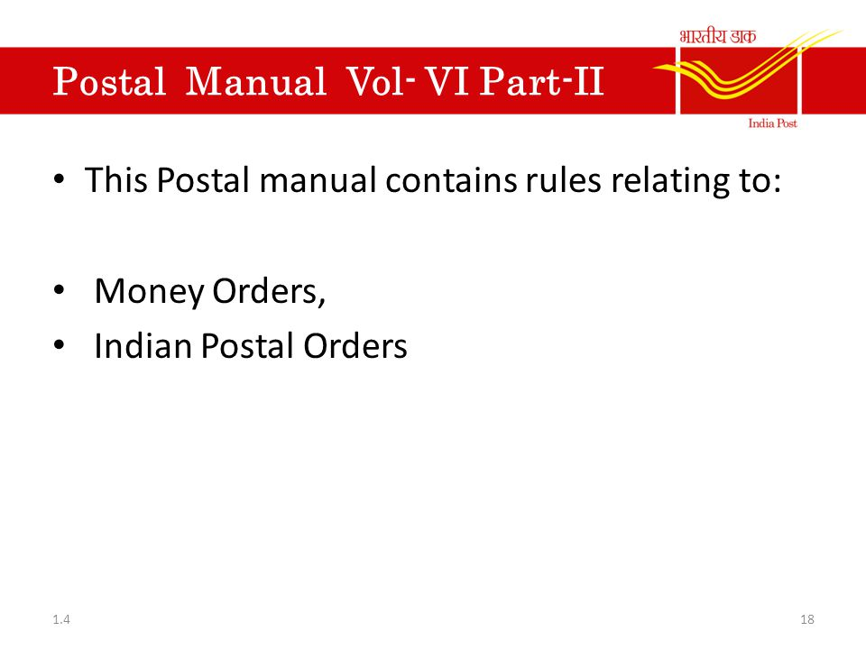 Postal Rules This unit contains information about different Volumes and  Rule books referred in postal operations  1 4