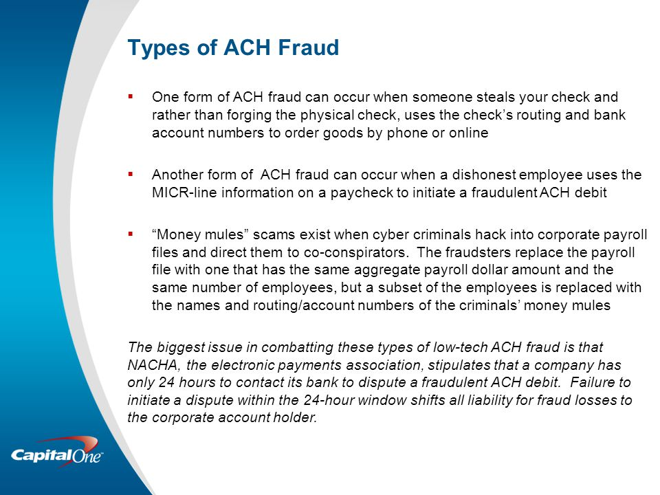 Types of ACH Fraud