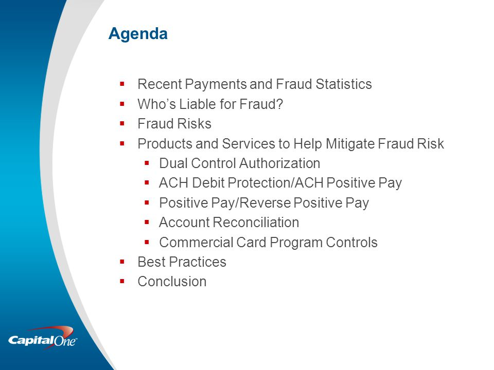 Agenda Recent Payments and Fraud Statistics Who's Liable for Fraud